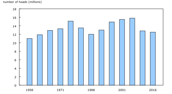 Chart 4: Total number of cattle and calves, Canada, 1956 to 2016