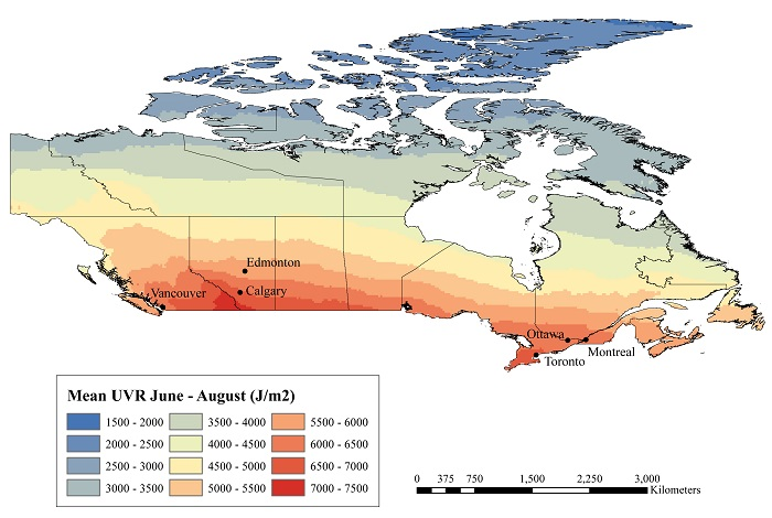Radiation Map Canada Mean ultraviolet radiation for June through August, Canada, 1980
