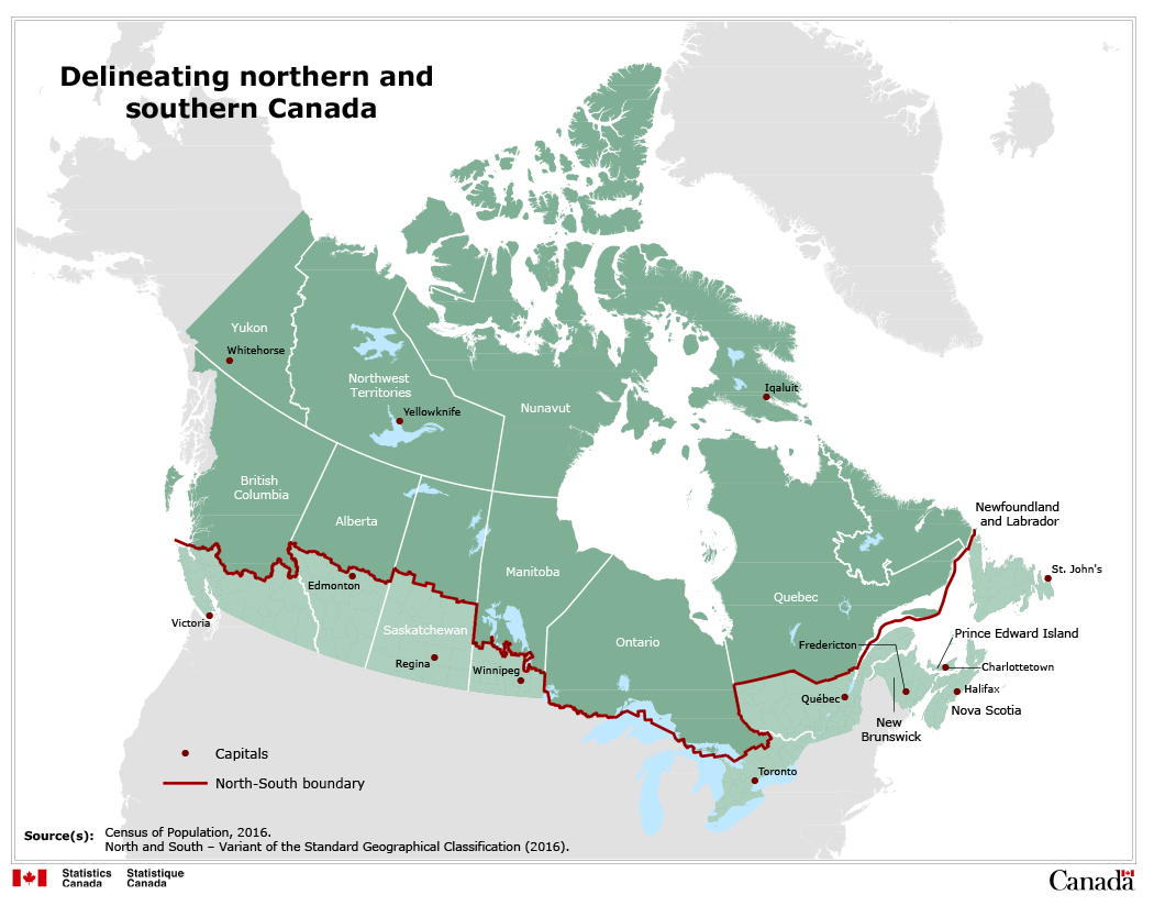 Map Of Southern Canada Map 1 Delineating northern and southern Canada