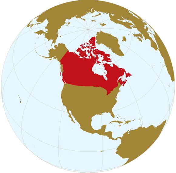 Canada Carte Du Monde.International Perspective