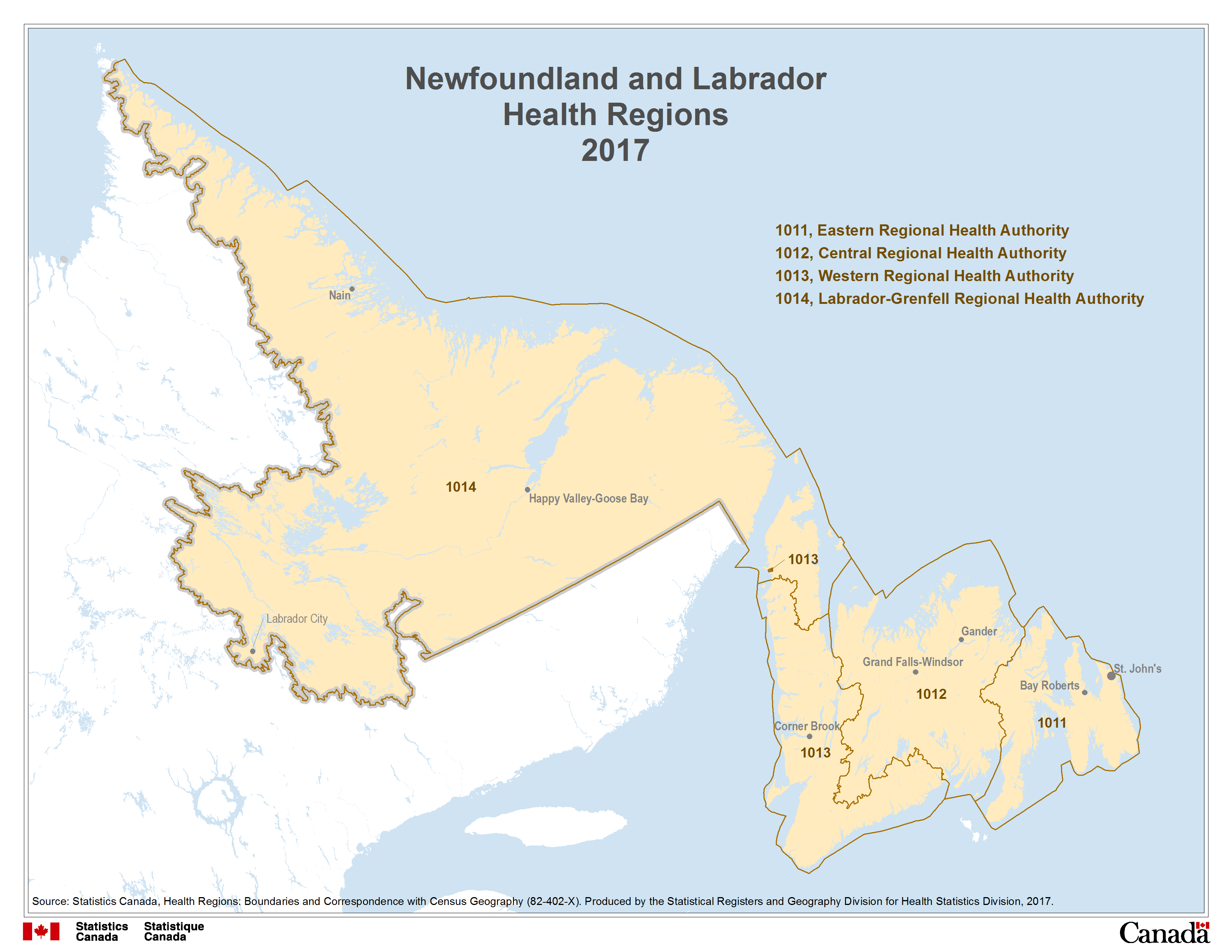 Map 1 Newfoundland And Labrador Health Regions 2017