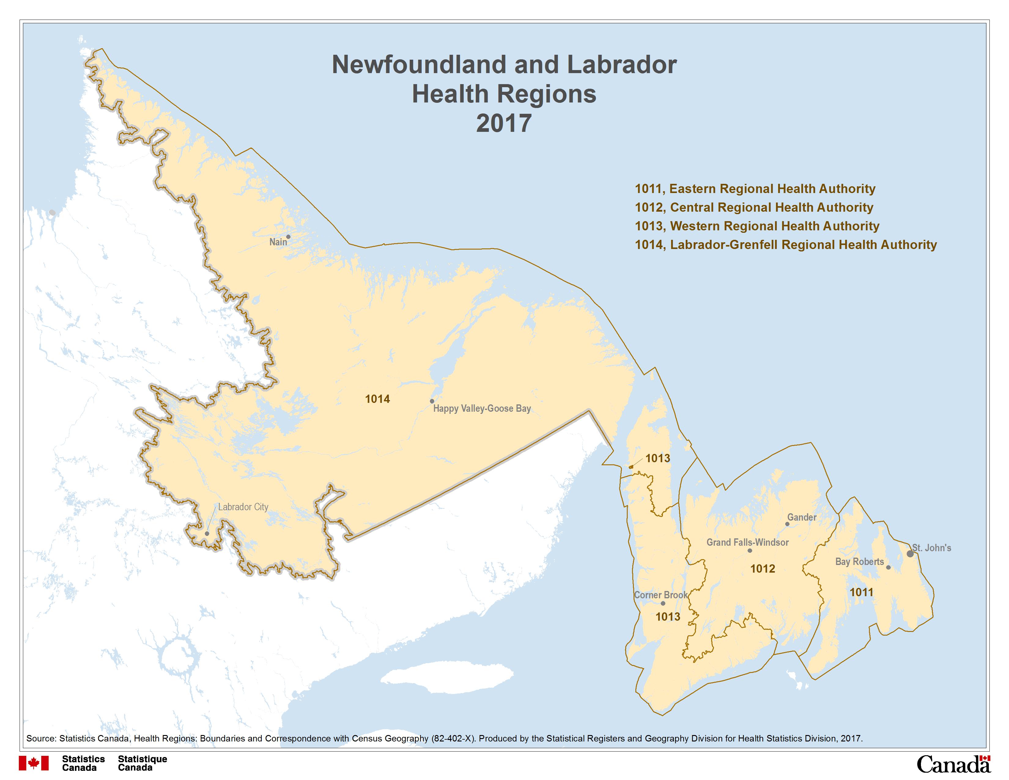 1 Newfoundland and Labrador Health Regions 2017
