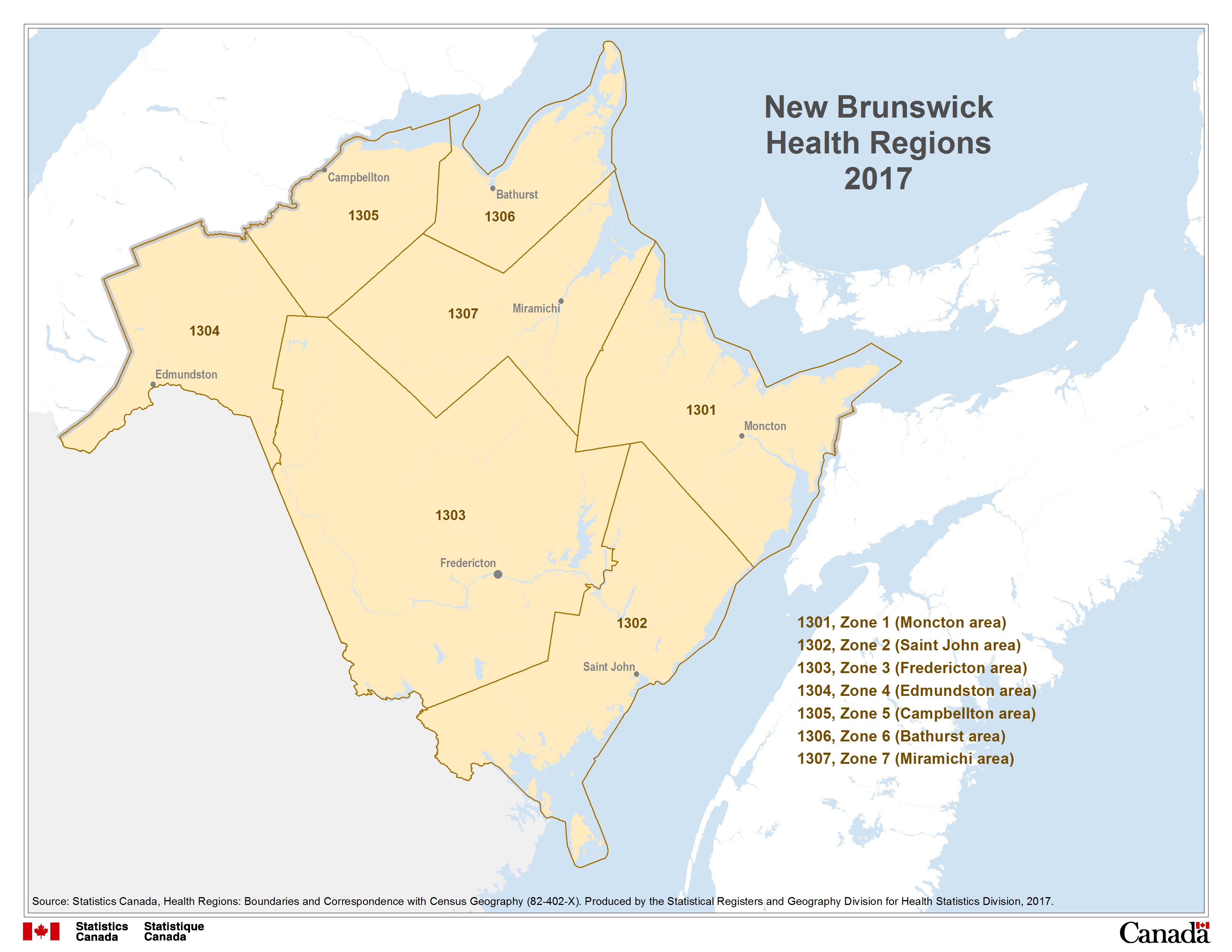 Map Of Canada New Brunswick.Map 4 New Brunswick Health Regions 2017