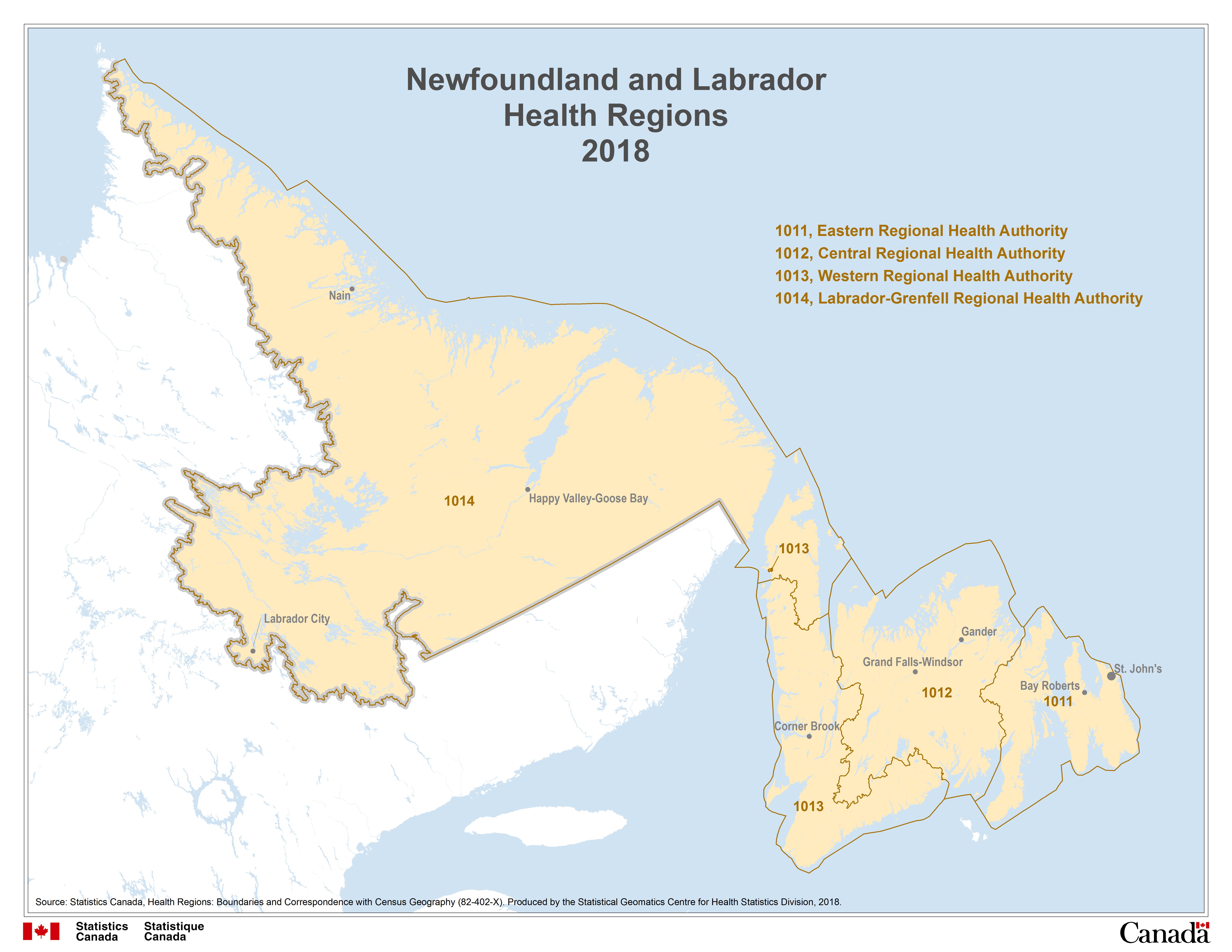 Gander Canada Map.Map 1 Newfoundland And Labrador Health Regions 2018