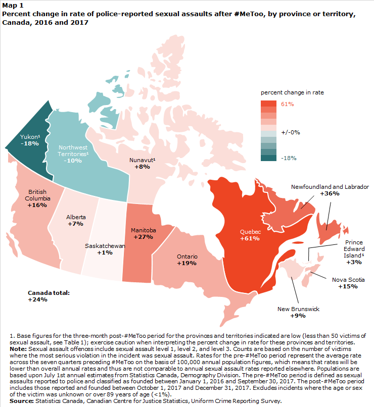 Show Me The Map Of Canada.Police Reported Sexual Assaults In Canada Before And After Metoo