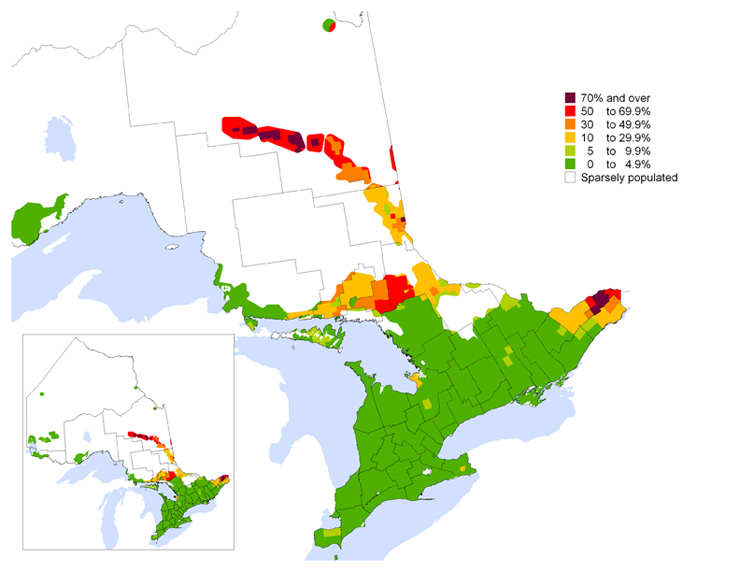 French Map Of Canada.Map 1 1 Percentage Of The Population With French As First Official