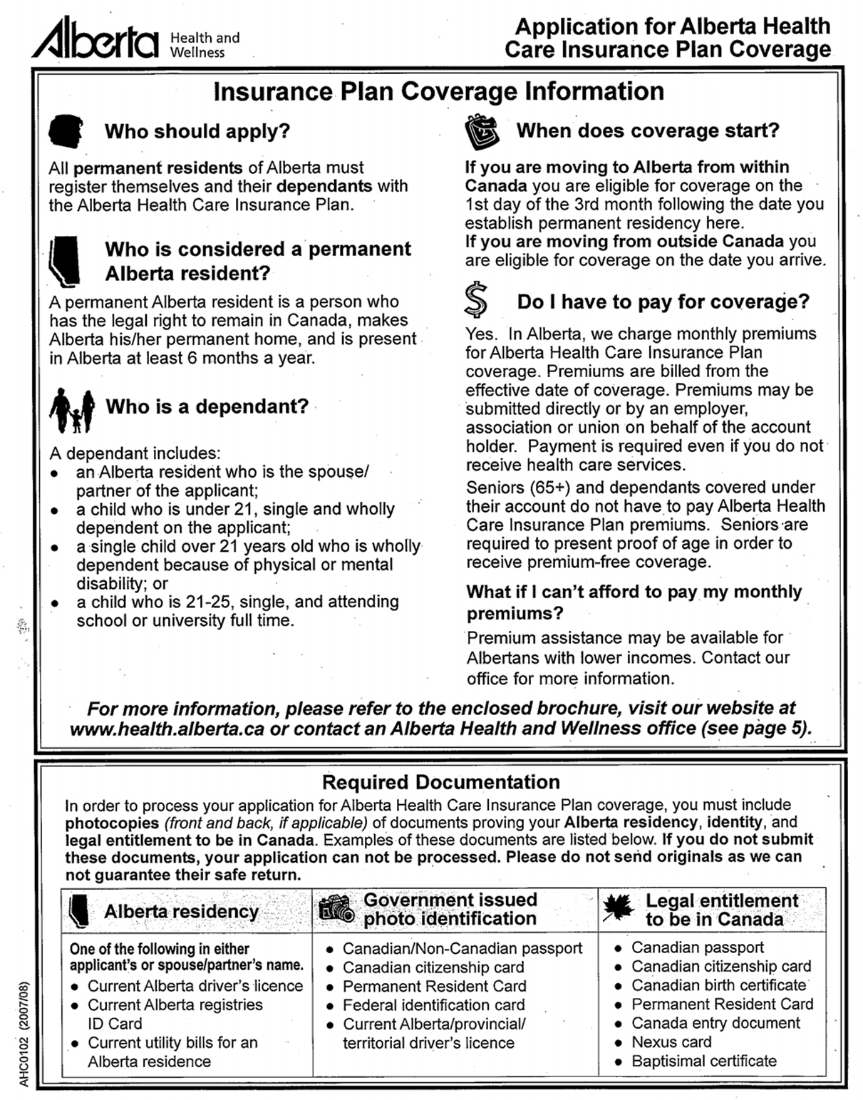 Annex h feasibility study on the use of provincialterritorial alberta new application form on line as of september 21 2007 aiddatafo Choice Image